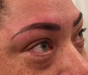 Close up microbladed brows